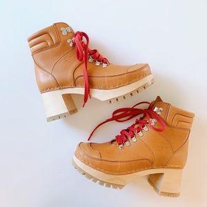 Swedish Hasbeens Monterey Boots Cognac Leather 38
